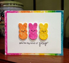 My kind of peep card using Distress Crayons and the March 2016 Simon Says Stamp card kit.