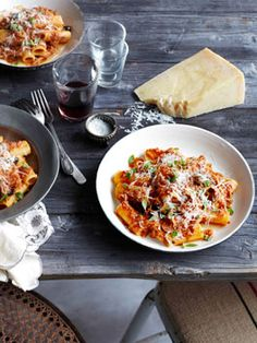 Rigatoni with braised pork, tomato and olives