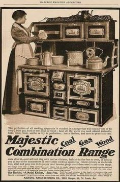 Majestic Combination Range: a versatile kitchen stove & oven that burns hard coal, soft coal, gas, and wood! Also heats water. Cuisinières Vintage, Vintage Antiques, Old Stove, Stove Oven, Old Kitchen, Vintage Kitchen, Victorian Kitchen, Alter Herd, Wood Stove Cooking