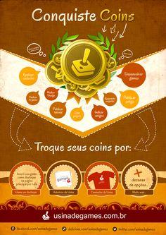 Conquiste Coins! Infográfico sobre o funcionamento dos coins na Usina de Games.