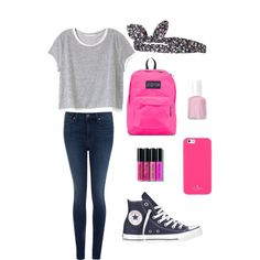 perfect for school. by amazinggrace31 on Polyvore featuring Victoria's Secret, Paige Denim, Converse, JanSport, Kate Spade, Topshop, Bobbi Brown Cosmetics and Essie