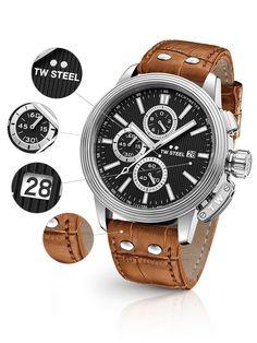 ⌚TW-Steel CE7004 Herrenuhr günstig @Timeshop24.de Chronograph, Steel, Accessories, Sapphire, Bracelet Watch, Get Tan, Silver, Leather, Steel Grades