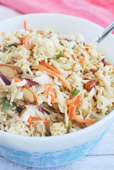 Ramen Noodle Salad Recipe - a fun twist on cole slaw! Perfect for summer barbecues.