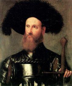 ca. 1510-15 Romanino, Girolamo - Portrait of a  gentleman in armour - New…