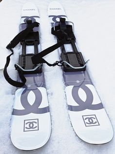 "NWT NEW Chanel  ✿*゚ SNOW LINE SKI BOARDS THIS ski boards are for adult . From Chanel famous snow line many years ago.  Purchased new and has never been use. The ski boards are in mint condition, and this item's Chanel tag is still with it.  Taken out only for taking photos during snowing day.  COMES w. their original box and pouch. Pouch shows age.    MEASUREMENT  35.4""L x 0.1""H x 3.9   Available @ 1stdibs"