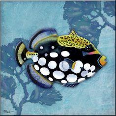 Azure Tropical Fish III - PB - Accent Tile