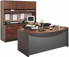 amazoncom bush furniture bow front u shaped desk with hutch office desks bush office furniture amazon
