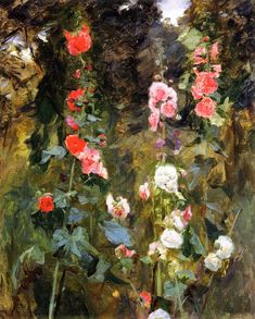 John Singer Sargent (1856-1925) - Hollyhocks, Isle of Shoals (c. 1886) - Oil on canvas - Private Collection