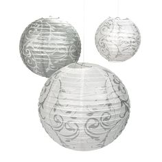 If you are looking for the perfect indoor or outdoor wedding decorations, these Silver Swirl Paper Lanterns will help to spice up any wedding or weddi. Wedding Lanterns, Outdoor Wedding Decorations, Silver Lanterns, Damask Wedding, Wedding Paper, Hanging Paper Lanterns, Silver Paper, Silver Anniversary, Anniversary Ideas