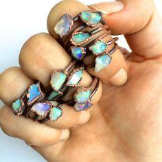 Raw opal ring Australian opal ring Rough opal ring by HAWKHOUSE