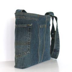 Reciclado bolsa cruzada bandolera denim azul oscuro Eco por Sisoi