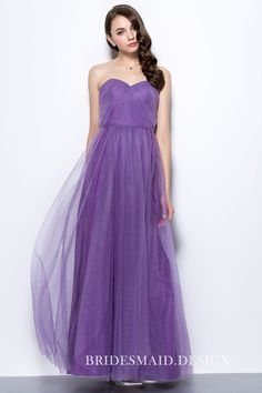34dc9d38f59e Simple Yet Modern Purple Tulle Strapless Sweetheart Long Bridesmaid Dress