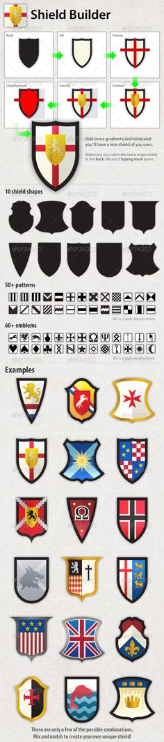 Mix and match icons patterns for a shield / crest / coat of arms. Can be used with Dough Knights and Dragons picture book by Dee Leone - Children's Crafts Costume Chevalier, Medieval Party, Medieval Crafts, Obelix, Etiquette Vintage, Knight Party, Dragons, Dragon Party, Vbs Crafts