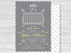 Gender Neutral Lacy Crib Baby Shower Invitation by PaperSunStudio