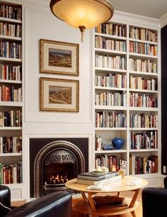 Oh. Em. Gee. Forget a huge closet; a study would be a dream room. Living Rooms with Bookshelves - Living Room Decorating | Fresh Home