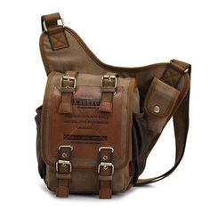 KAUKKO Men Retro Canvas Travel Shoulder Chest Messenger Bag