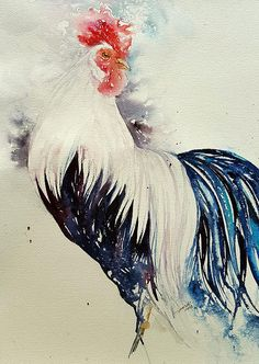 White Rooster Watercolour Painting Original Art 12x16