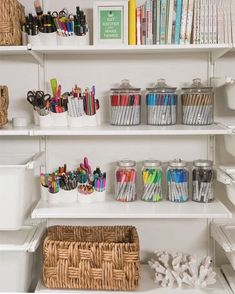 Arts and Crafts dream closet! Feel free to create at any time - any day. Let your mind take you to places you can only dream of. Perfect to… Craft Room Storage, Playroom Organization, Home Organisation, Storage Ideas, Stationary Organization, Playroom Ideas, Organizing Art Supplies, Scrapbook Room Organization, Art Supplies Storage