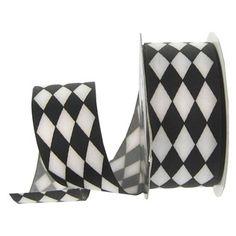 "the Ribbon Boutique 1 1/2"" Black & White Harlequin Grosgrain Ribbon | Shop Hobby Lobby"
