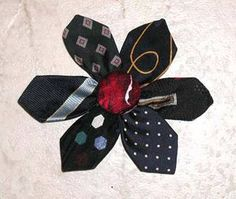 Flower broach made from tie tips - great idea Tie Crafts, Sewing Crafts, Sewing Projects, Craft Projects, Old Ties, Make A Tie, Tie Quilt, Diy Flowers, Homemade Gifts