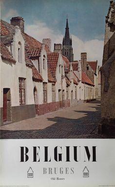 1950s Bruges, Belgium Travel Poster - Original Vintage Poster