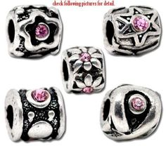 b58204881 Pack of Five (5) Pink Rhinestone Design Rubber Stopper Charm B... Pandora  BeadsPandora ...