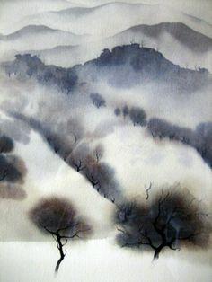 California landscape - Eyvind Earle by lauren Watercolor Landscape, Landscape Art, Watercolor Art, Art And Illustration, Art Graphique, Fine Art, Painting & Drawing, Amazing Art, Cool Art