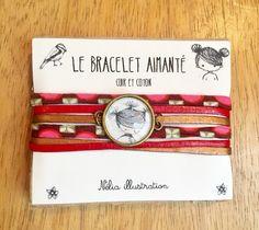 Bracelet(M) illustré cuir et coton multicordons, attache aimantée Nelia Father, Bracelets, Etsy, Unique Jewelry, Objects, Handmade Gifts, Cards, Cotton, Leather