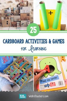 25 Inventive Cardboard Activities and Games for Learning. Before you recycle those delivery boxes, put them to good use in the classroom with these fun cardboard activities and games. #activities #activitiesforkids #classroom #brainbreaks #teachingmath #elementaryschool First Grade Activities, Sight Word Activities, Back To School Activities, Kindergarten Activities, Stem Activities, Activities For Kids, Classroom Activities, Learning Games, Kids Learning