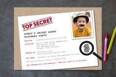 Secret Agent Children's Birthday Party Invitations by The Detroit Card Co. at minted.com