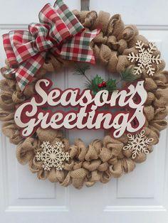 seasons greetings burlap wreath seasons greetings wreath - Christmas Burlap Ribbon