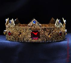 GOLD Dolce Male Crown For Royal King Royal Red Blue Topaz Crowns  Men Medieval