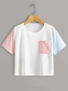 Colorblock Patched Pocket TeeCheck out this Colorblock Patched Pocket Tee on Romwe and explore more to meet your fashion needs! Teenage Girl Outfits, Girls Fashion Clothes, Tween Fashion, Cute Outfits For Kids, Girl Fashion, Cool Outfits, Casual Outfits, Fashion Outfits, Ropa Color Pastel
