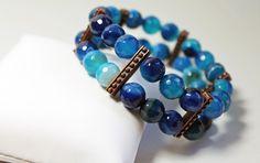 Agate Ocean Blue Stretch Bracelet by Yvets on Etsy