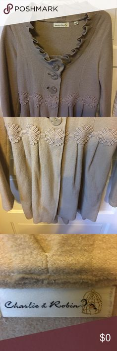 Gorgeous anthropologie jacket Beige 100% wool with big buttons in front above detailed design with scoop scalloped neck charlie & robin Jackets & Coats Blazers