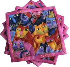 Laurel Burch Fanciful Felines Quilted Coasters by Sieberdesigns, $20.00