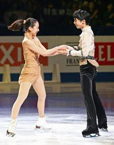 Mao Asada & Yuzuru Hanyu / figure skater. The ISU World Figure Skating Championships 2014 Exhibition in Saitama Japan.