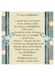 Godfather Picture Frame Insert Gift Idea