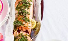 Barbecued salmon with herbs and capers