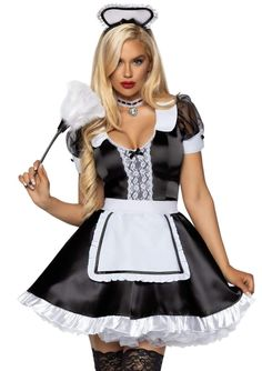 White Satin Dress, Satin Dresses, Nice Dresses, French Maid Costume, Sexy Halloween Costumes, Adult Halloween, Halloween Party, Fru Fru, Maid Outfit