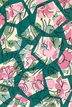 Layering up and drawing onto geometric shapes - A reproduction of a Parisian textile design from Atelier Zina de Plagny, 1940s-1950s