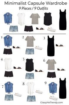 Minimalist Capsule Wardrobe 9 pieces 9 outfits - sub in navy instead of black for me.