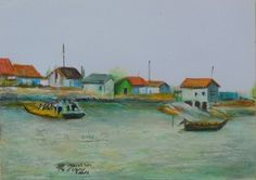 Oyster Fishing Boats and French Atlantic Coast $60.00 Original watercolor painting illustration in frame. Size 7 inches by 5 inches. Ile d'Oleron is the second largest French Island (after Corsica-Corse) located near  La Rochelle,France. Connected to the mainland by a 2 mile bridge in the Bay of Biscay. This unique painting by Jeff Sterling was created with watercolors,aquarelles,oil pastels,color pencils,gouache and Faber Castell India Ink markers.