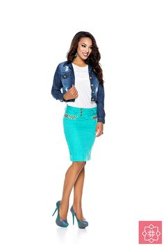Saia Nervuras Verde Nítido Jeans #viaevangelica #nitidojeans #modaevangelica #modafeminina