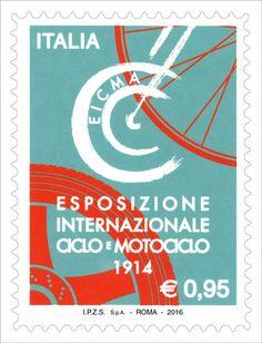 Francobollo ordinario appartenente alla serie tematica le Eccellenze del sistema produttivo ed economico dedicato ad EICMA - Esposizione Internazionale del Ciclo e Motociclo