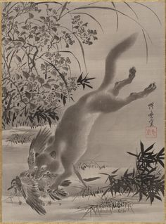KAWANABE KYŌSAI. Fox Catching Bird, 1887, Album leaf; ink and color on silk.