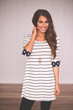 Stripes and polka dots- both are great.  This top is a little long for me, and too unstructured.