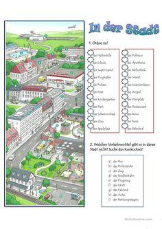 In der Stadt Mehr German Grammar, German Words, Learn German, Learn English, German Resources, Deutsch Language, German Language Learning, Foreign Languages, Worksheets