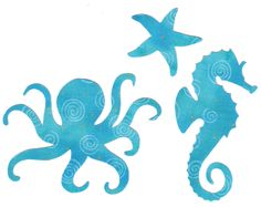 Blue Sea Creatures--Octopus, Seahorse, & Starfish Fabric Iron on Appliques. $6.00, via Etsy.