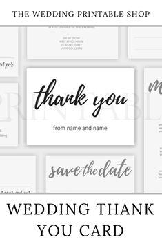 Handwritten Script Wedding Thank You Card Printable Stationery Design, Wedding Stationery, Wedding Printable, Wedding Prints, Wedding Save The Dates, Wedding Thank You Cards, Diy Wedding, Script, Dating